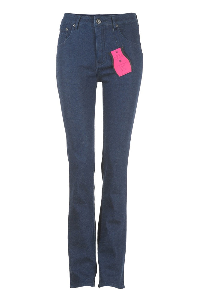 Womens full-rise straight leg jeans in midnight blue