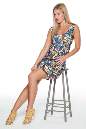 Paloma Mini Dress in Picasso style print by Sally Allen