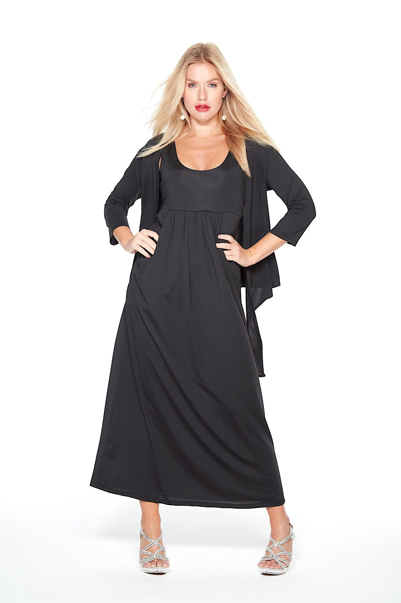 Black Anytime Dress Audrey Long with Black Shrug