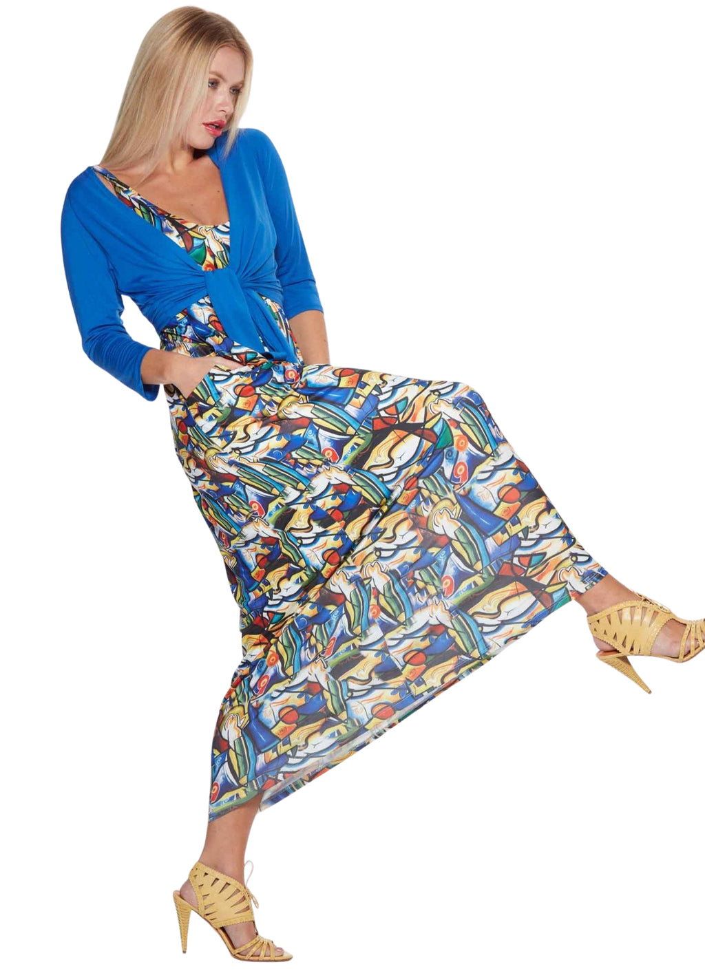 Maxi Dress with Picasso style print