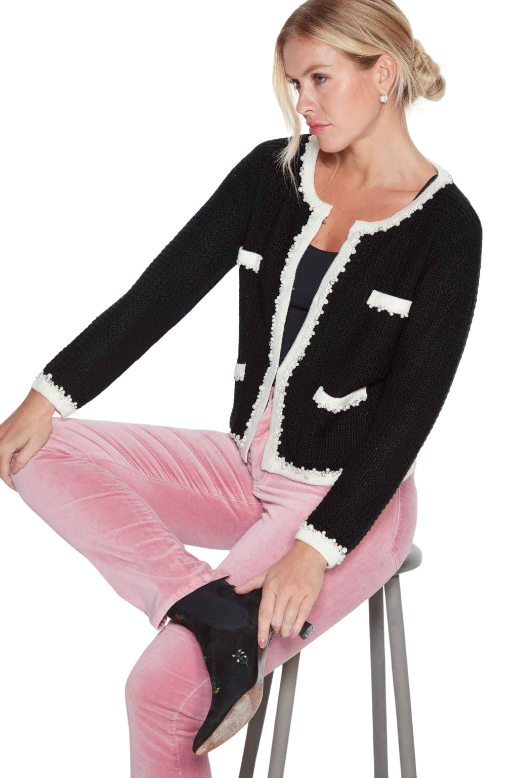 Womens French-style Knitted Jacket in Black inspired by the legendary Coco Chanel. Black with creamy white edging and pearl and diamante trim