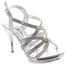Sparkly Silver Strappy Sandals