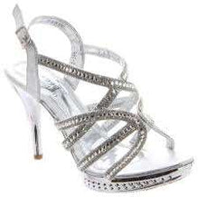 Load image into Gallery viewer, Sparkly Silver Strappy Sandals
