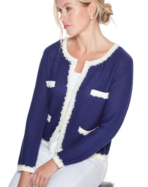 French style little knitted jacket as inspired by Coco Chanel in Royal Blue and paired with white jeans