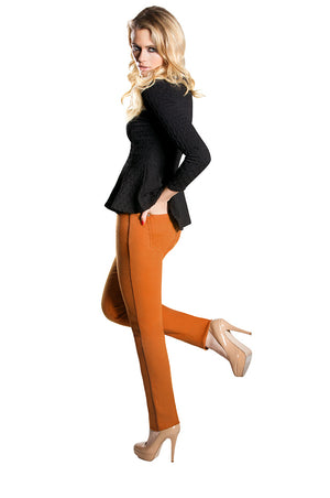 Gina Dolce Vita Elite Wizard Jeans in fabulous tan with brown faux leather piping down outside seams