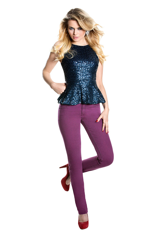 womens purple jeans