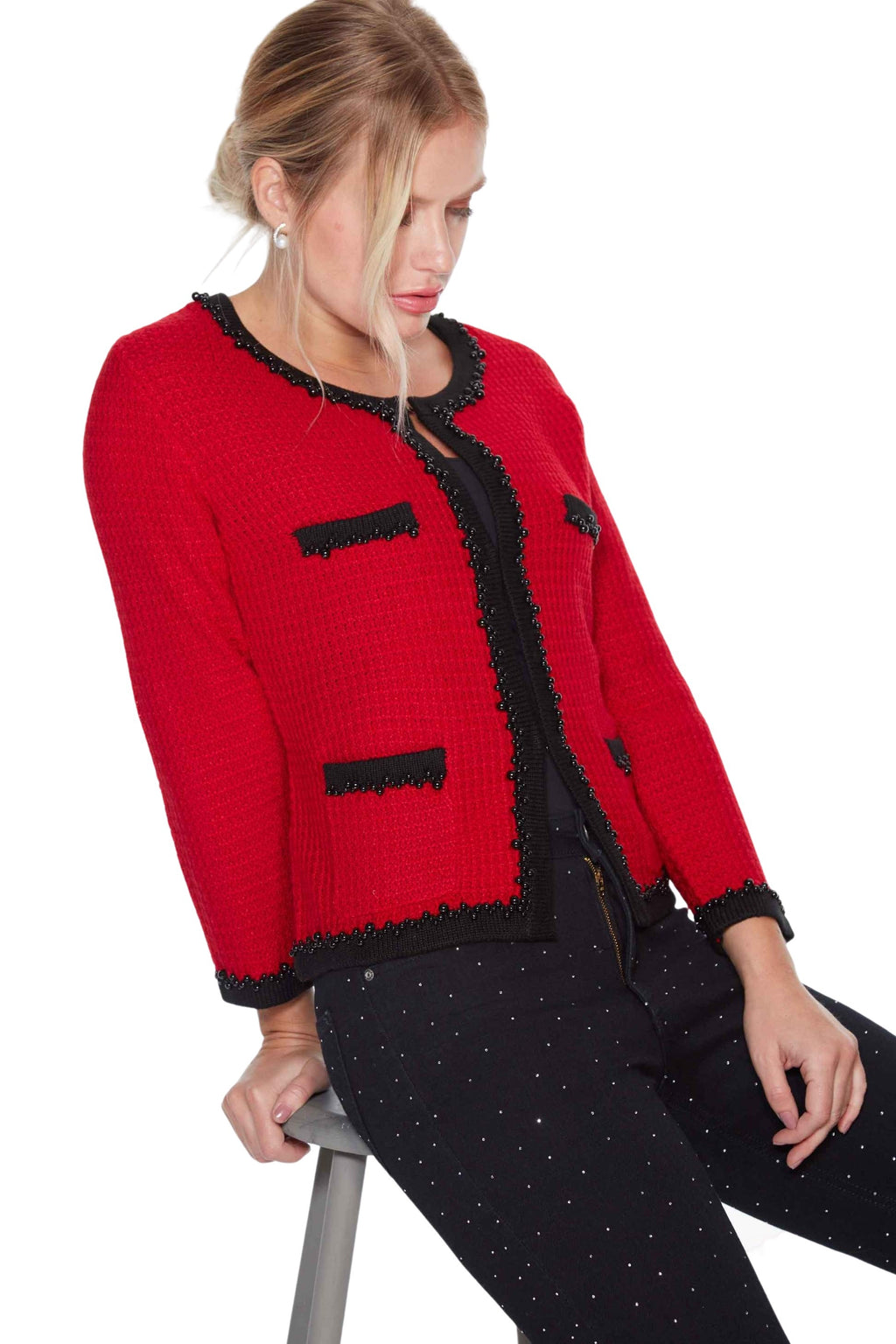 little french knitted jacket in red