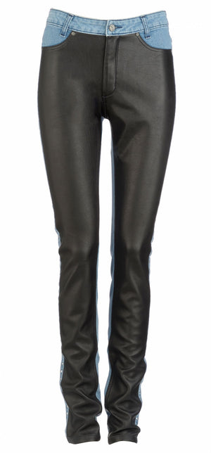 front of Marilyn Bombshell Elite Wizard Jeans skinny cut, regular rise with faux leather panel and stud detail