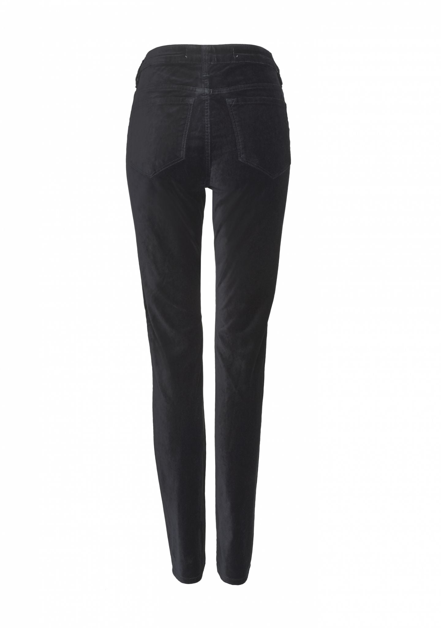 back of Maxine Elite Wizard Jeans cigarette cut, full rise in black velvet - perfect party jean