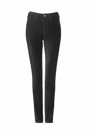 front of Maxine Elite Wizard Jeans cigarette cut, full rise in black velvet - perfect party jean