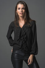Load image into Gallery viewer, Victoria - Black Ruffle Shirt