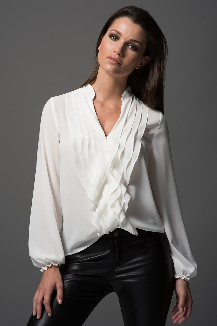 Victoria - Ivory Ruffle Blouse