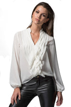 Load image into Gallery viewer, Victoria - ivory ruffle shirt