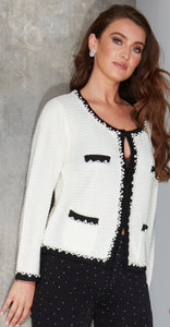 Angie White knitted jacket inspired by the legendary Coco Chanel