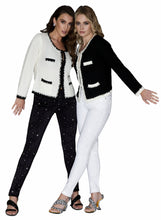 Load image into Gallery viewer, Size 4 White Diamante Party Jeans sprinkled all over with diamante stones