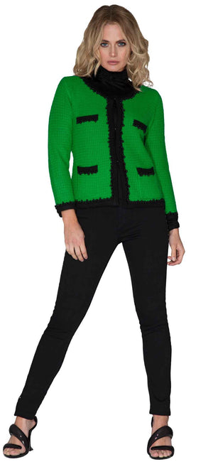 womens black fine-knit ruffle polo neck jumper under emerald green knitted jacket