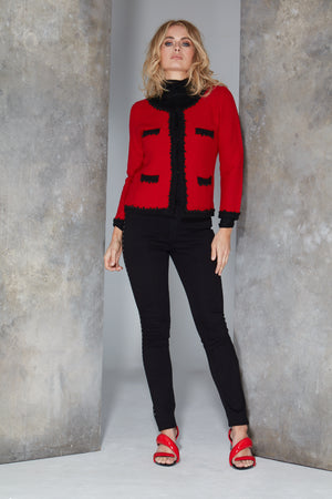 Amelie Red French-style Knitted Jacket