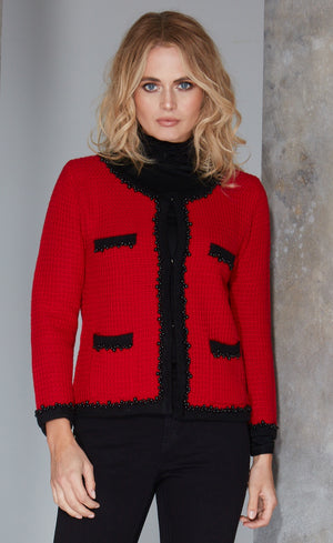 womens black fine-knit ruffle polo neck jumper under french-style knitted jacket in red