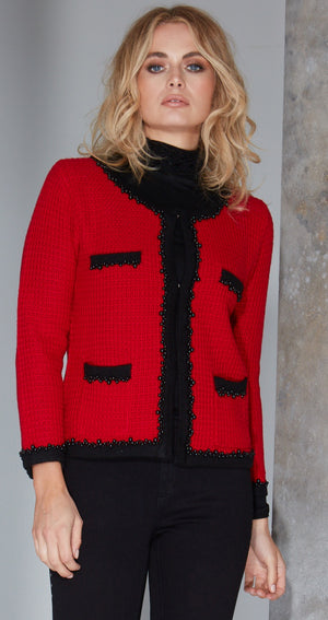 Chanel inspired jacket, Red Amelie knitted jacket