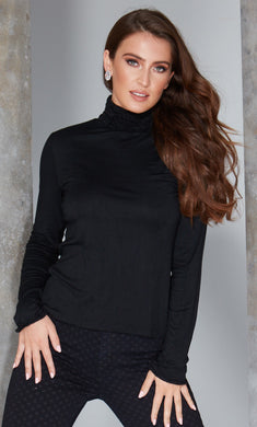 Best selling fine knit Ruffle Polo Neck Sweater in Black by Sally Allen