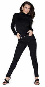 Black Domino Elite Wizard Party Jeans by Sally Allen. Skinny cut with polka dot and jet stone detail