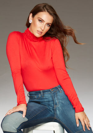 Best selling fine knit Ruffle Polo Neck Sweater in Red by Sally Allen