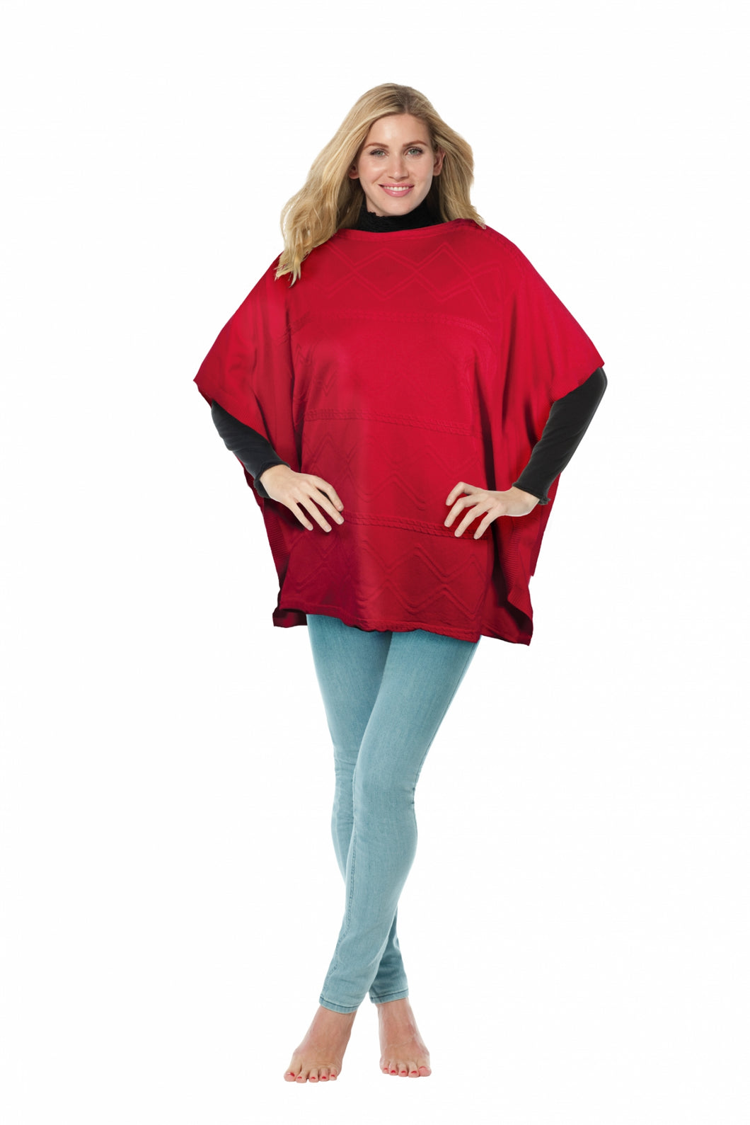One size red poncho by Sally Allen