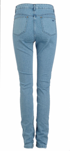 womens skinny jeans stonewashed leather fashion back