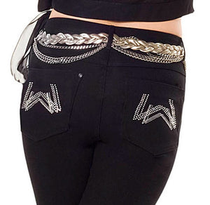 The elegant double 'W' logo is embroidered in Austrian Crystal and silver lurex thread on both back pockets.
