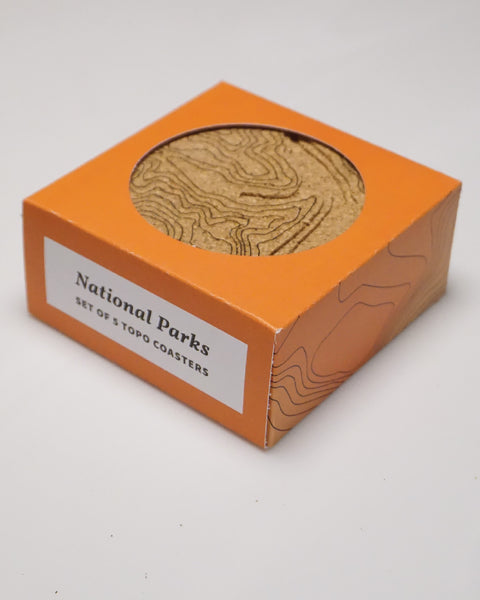 Set of 5 National Parks Topographic Map Cork Coasters in Packaging