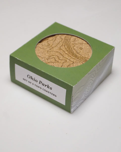 Set of 5 Ohio Parks Topographic Map Cork Coasters in Packaging