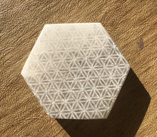 Load image into Gallery viewer, Selenite Laser Engraved Charging Platform Hexagon