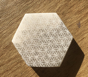 Selenite Laser Engraved Charging Platform Hexagon