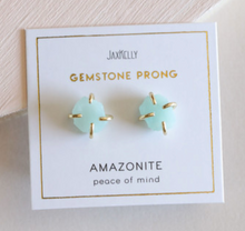 Load image into Gallery viewer, Amazonite Gemstone Prong Earring