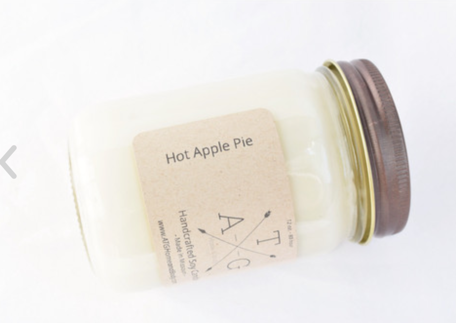 Hot Apple Pie Scented Soy Candle- 12 oz.