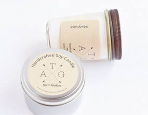 Rich Amber Scented Soy Candle- 12 oz.