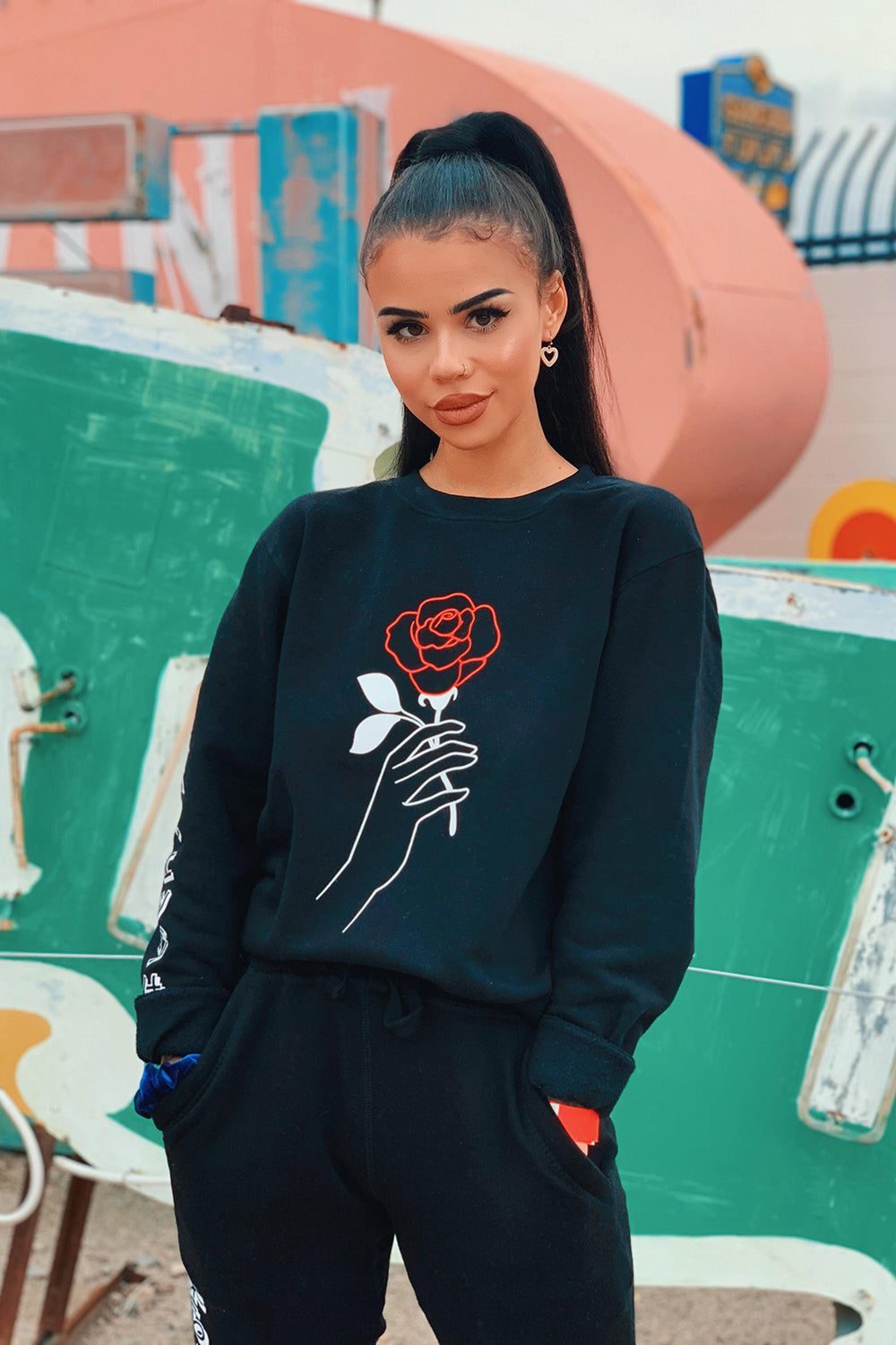 Snitchery: Black Rose Crewneck
