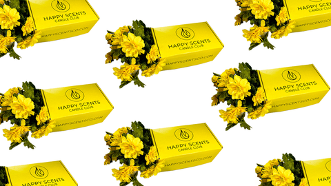 Happy Scents Candle Club box with yellow flowers