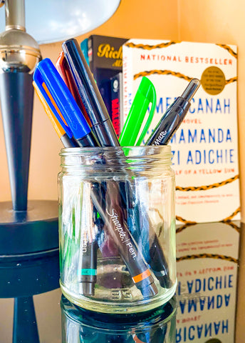 Turn your candle container into a pencil and pen holder!