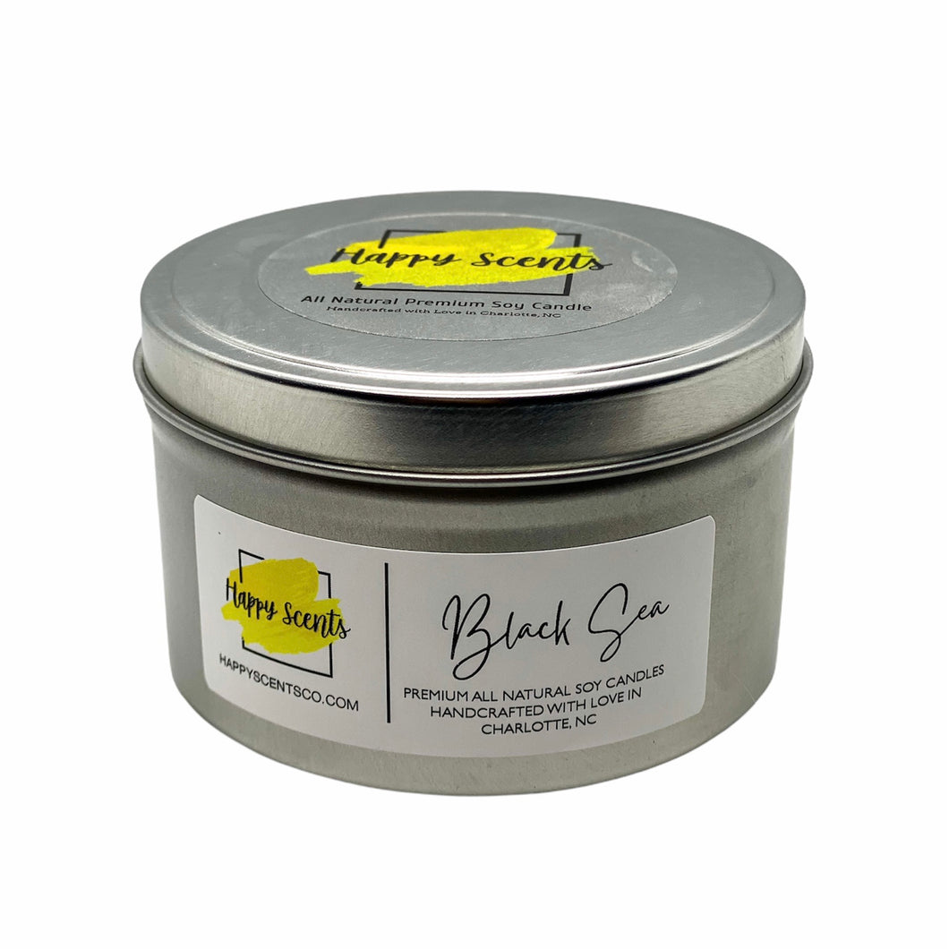 Black Sea travel tin handmade candle
