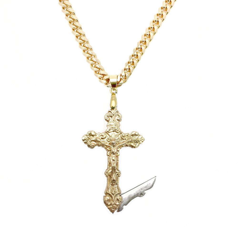 Crucifix Switchblade Necklace