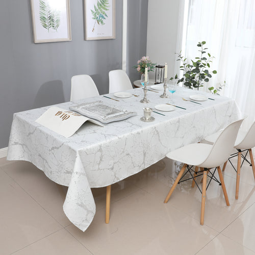 White/Silver Marble Jacquard Tablecloth #1306