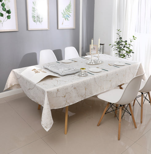 White/Gold Marble Jacquard Tablecloth #1307