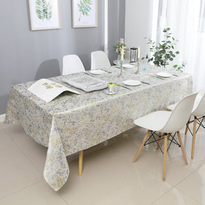 Silver/Beige Gold Blend Jacquard Tablecloth #1319