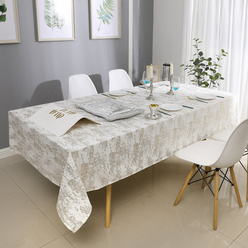 White/Gold Mosaic Velvet Tablecloth #1402