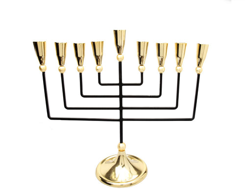 Black and Gold Pointed Menorah