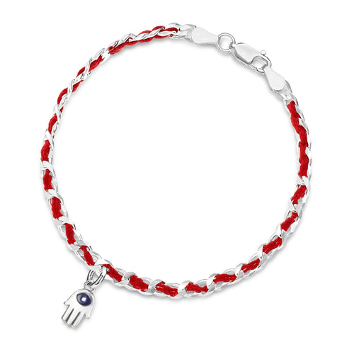 Chamsa Red String Sterling Silver Bracelet