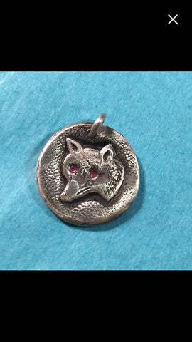 Sterling Silver Snooty Fox with Pink Sapphire Eyes Pendant