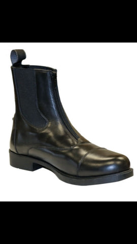 Black Leather Zip Paddock Boot