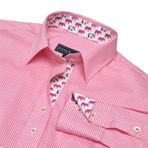 """Dora Peeps"" Pink Gingham Check Tailored Shirt"